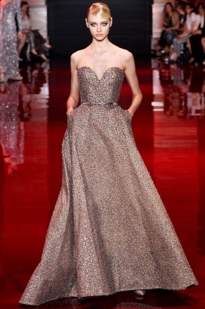 Vestido de noiva cintilante e cinza - Elie Saab 2014 #casarcomgosto