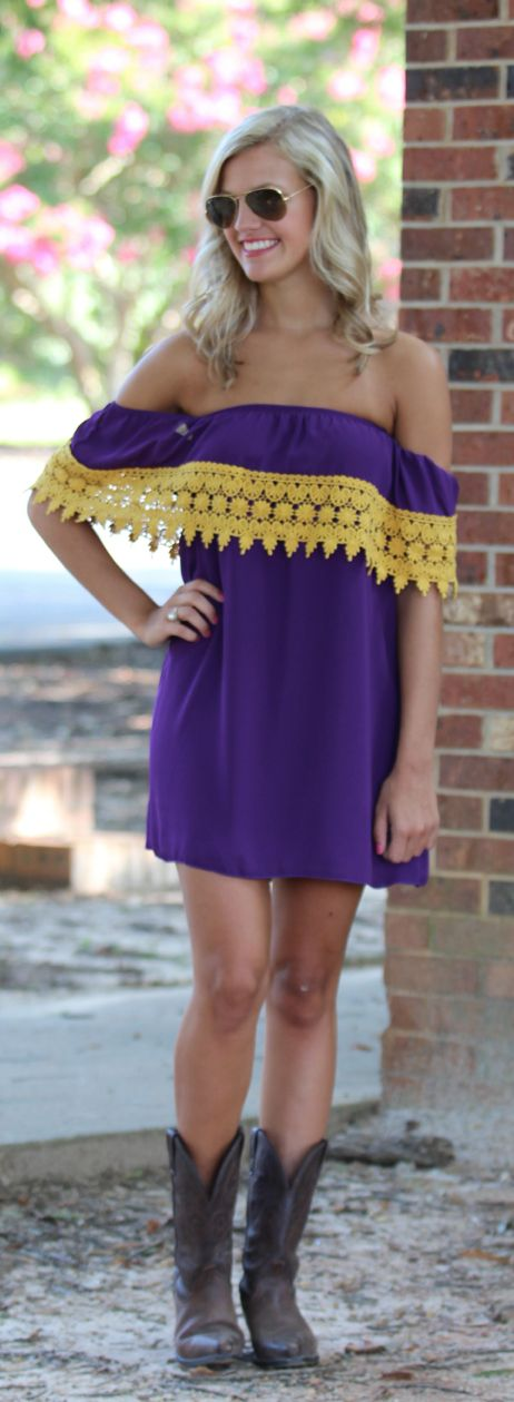 Girls of Fall Purple and Gold Crochet Dress - Monday Dress.
