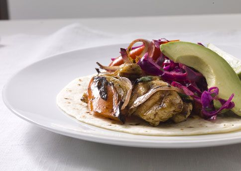 Chicken Fajitas with Crunchy Lime Cabbage and Avocado | Recipe