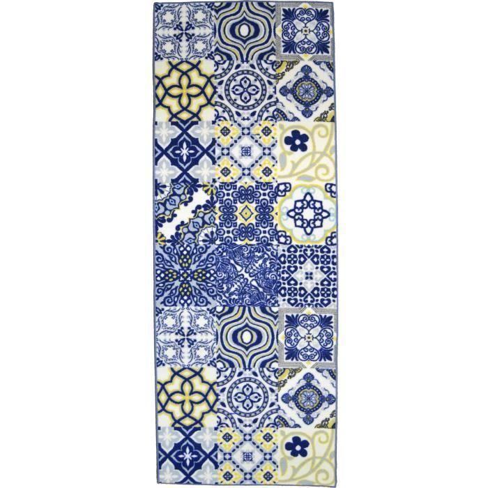 Utopia Tapis De Couloir Carreaux De Ciment 80x300 Cm Bleu Jaune