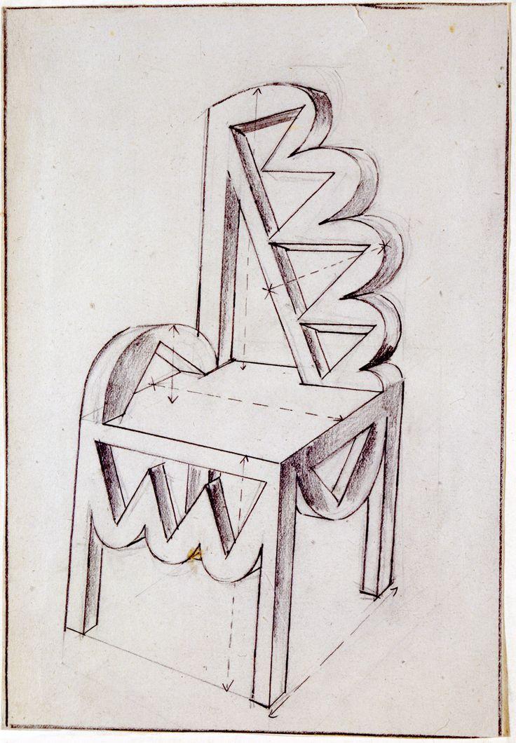 Studio di sedia, Fortunato Depero, 1926-27, courtesy MART - Museo d'Arte Moderna e Contemporanea di Trento e Rovereto / Un autore. Fortunato Depero / Dall'Autarchia all'Autonomia.