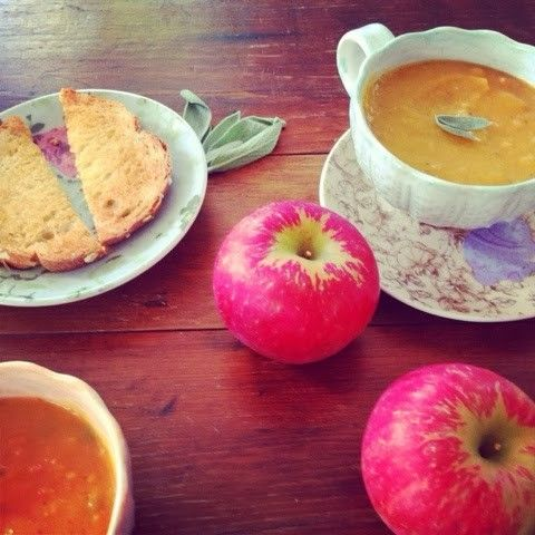 Butternut squash soup with apple, sage and bacon from Domestic Deborah