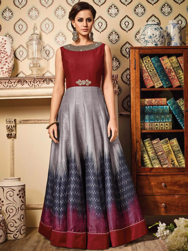 Lovely maroon and grey party wear santoon anarkali suit. Having fabric santoon, net, silk and chiffon. Beautified with hand crafted, patch work and lace border work which synchronized effectively with all the pattern and design of the attire. Comes with matching bottom and dupatta. #mydesiwear #Wedding #Anarkali #SalwarSuits #valentinesday #OnlineShopping #FloorLengthAnarkali #WeddingSuits #valentinegifts #PunjabiSuits #WeddingTrendySalwar #PartyWearSalwarSuits #AnarkaliSalwarKameez