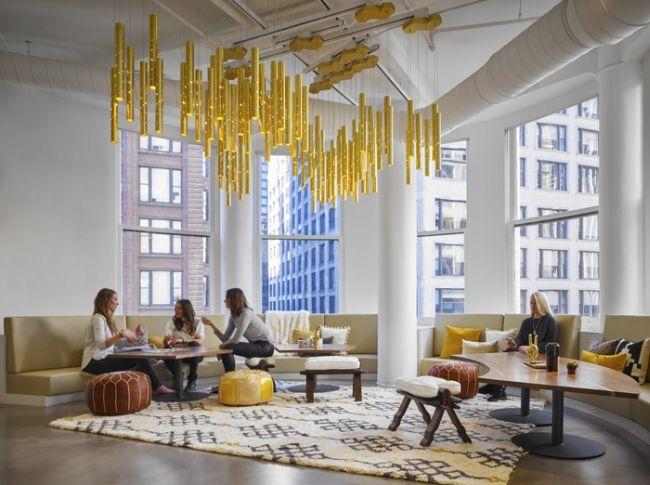 Nowoczesna aranżacja biura, nowoczesne biuro, nowoczesne wnętrze biurowe, żółta…