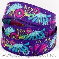 sophie flowers on purple ribbon (25mm wide) [per metre] - $4.40 : Ribbons Galore, your online store for the best ribbons
