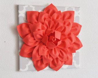 Gran flor Coral sobre Tarika gris neutro del colgante de pared - pared decoración casa decoración