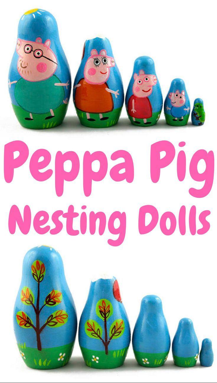 Peppa Pig Nesting Dolls - 5 handmade, hand painted dolls that stack inside each other. #etsyseller #etsyshop #handmade #natural #wood #toy #peppapig #ad