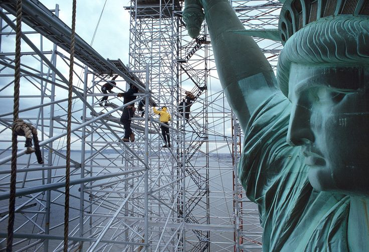 STATUE OF LIMITATIONSWorkers on the scaffolding of the restoration project of the Statue of Liberty, 1984.