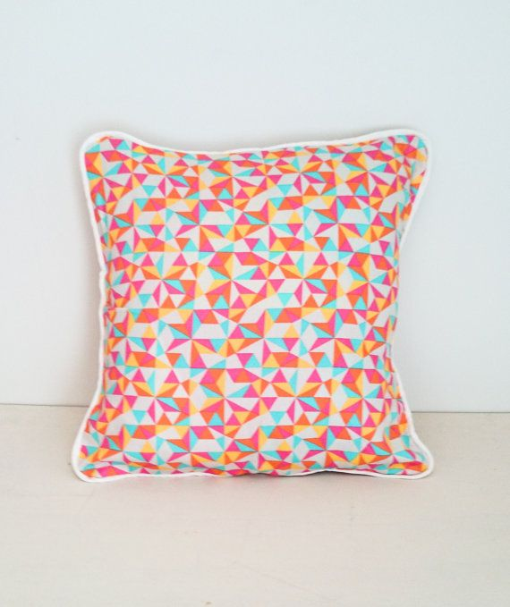 Geometric Neon Rainbow Envelope Cushion Cover with by KBSDESIGNS