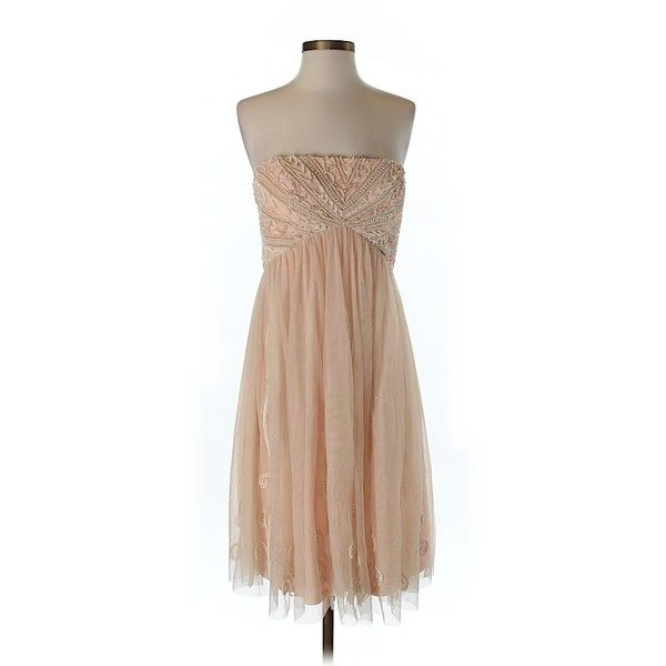 Pre-owned Aidan Mattox Cocktail Dress Size 10: Light Pink Women's... ($75) ❤ liked on Polyvore featuring dresses, light pink, aidan mattox cocktail dress, beige cocktail dress, pre owned dresses, preowned dresses and aidan mattox