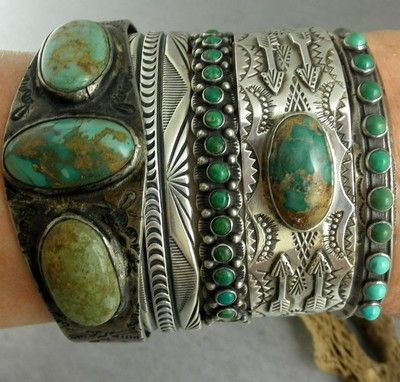 Fred Harvey Navajo Old Old Pawn Handmade Royston Turquoise Cuff Bracelet