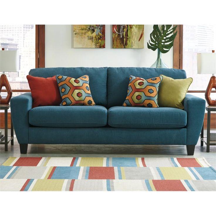 Ashley Sagen Fabric Queen Size Sleeper Sofa in Teal