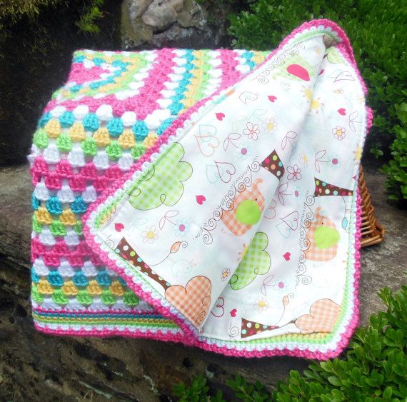 Good idea! Reversible blanket: one side crochet, one side nice fabric! Crochet Baby Blanket Baby Girl Elephant by BellaBeansCrochet
