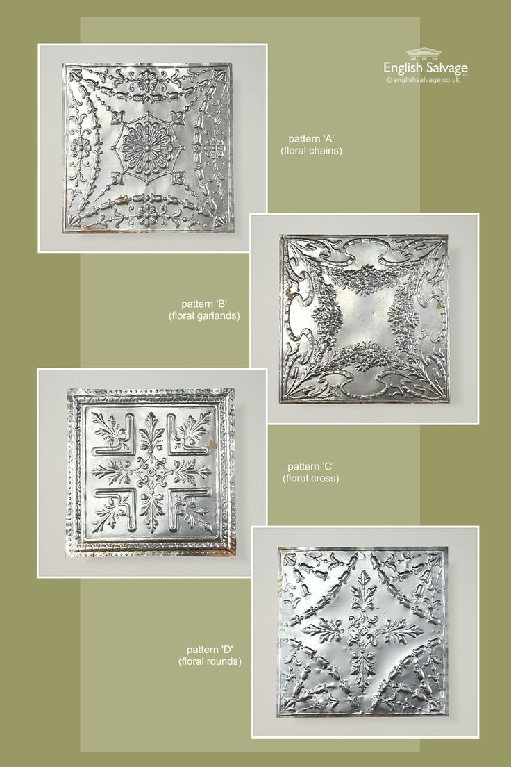 Unusual embossed large tin tiles in four different patterns with a border.