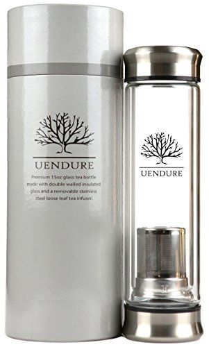 UEndure Tea Infuser Glass Tumbler with Loose Leaf Tea Strainer, Tea Cup with Stainless Steel Steeper, Double Wall Portable Teapot with Mesh Filter Basket, Great Water Bottle for Fruit Infusion and Food Grade Essential Oils - http://teacoffeestore.com/uendure-tea-infuser-glass-tumbler-with-loose-leaf-tea-strainer-tea-cup-with-stainless-steel-steeper-double-wall-portable-teapot-with-mesh-filter-basket-great-water-bottle-for-fruit-infusion-and-foo/
