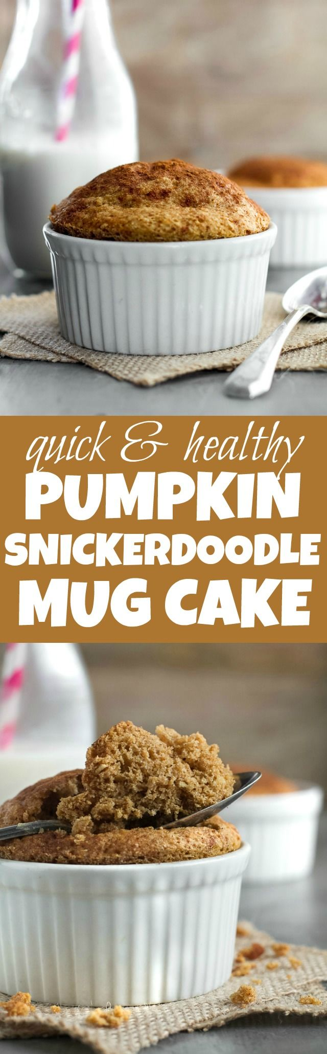 Pumpkin Snickerdoodle Mug Cake - just 5 minutes and a handful of healthy ingredients will give you this delicious gluten-free and paleo snack! | runningwithspoons.com