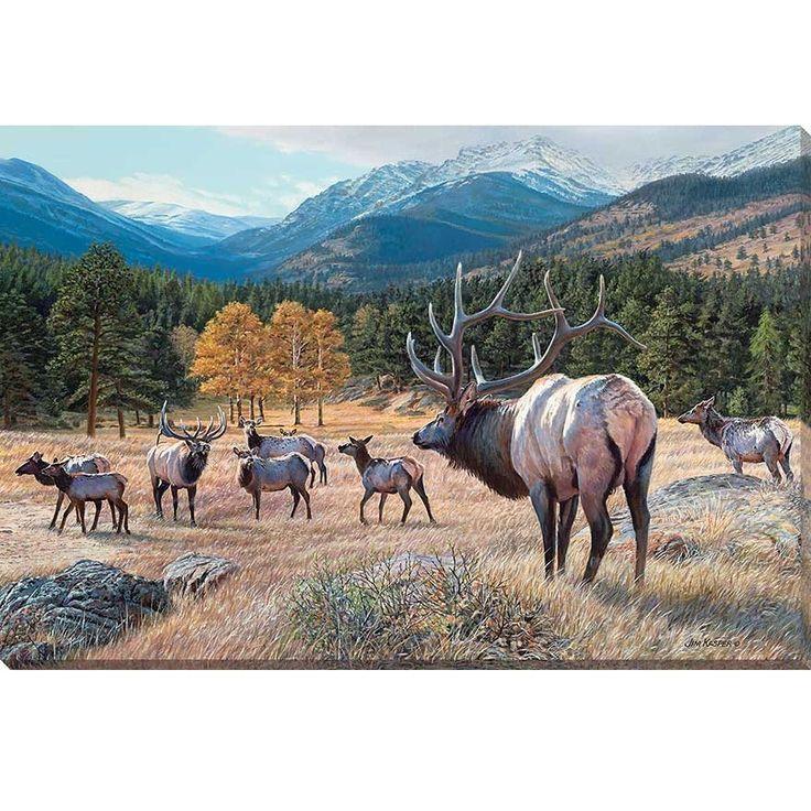 Edge of trouble elk wrapped canvas art by jim kasper