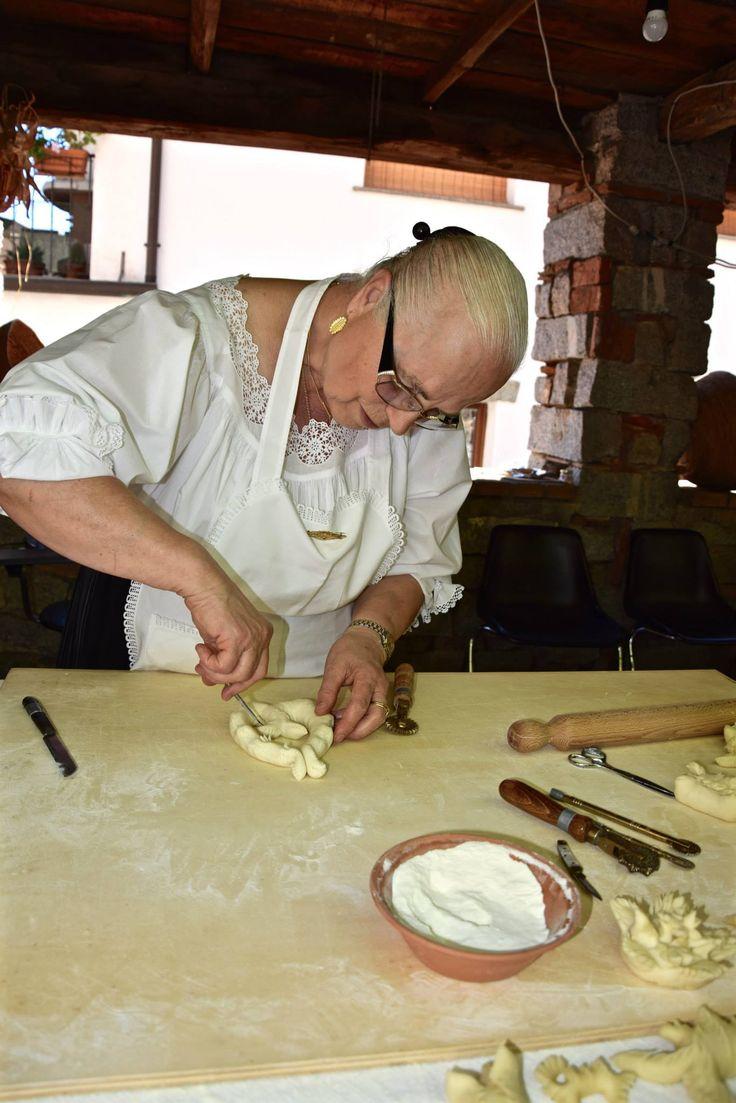 The decoration of 'Pani Pintau' (traditional bread of Ogliastra) is a real art, Sardinia