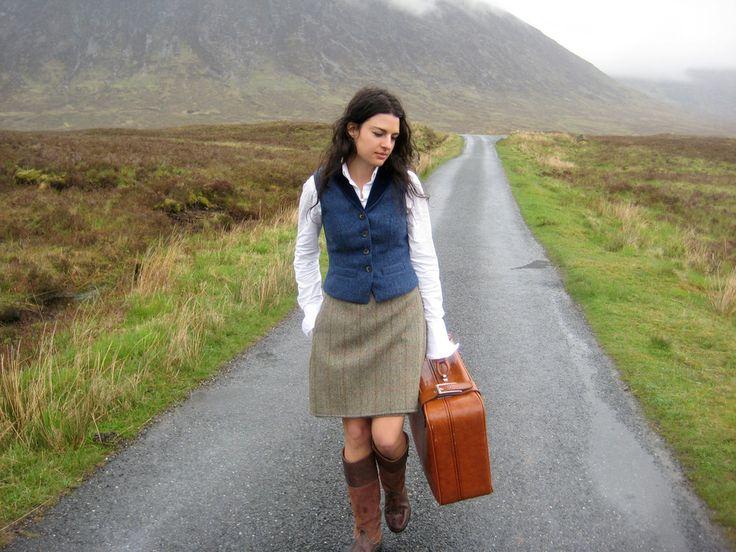 lady with suitcase, lady wearing kilt, Atmospheric, haunting, dreamer inspiration. Rhu Kilt & Shiel Waistcoat. Handmade in the Scottish Highlands. Outlander