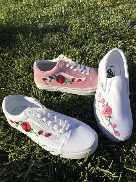 25219db4dd131 Custom Rose Embroidered Vans in 2019 | Shoes | Embroidered vans ...