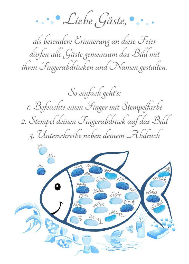 Baptism – fingerprint baptism fish blue – baptismal and christening gift