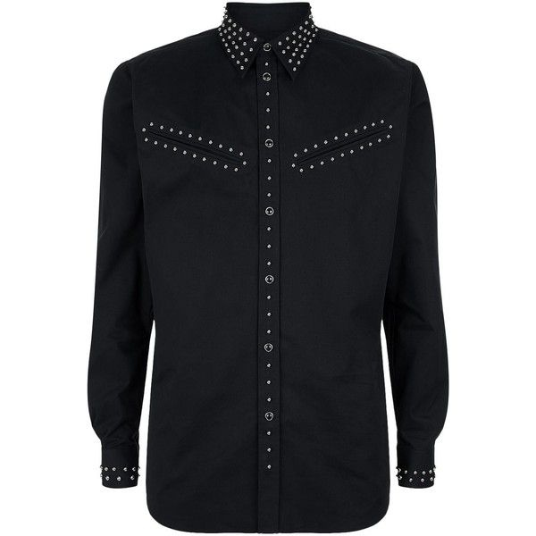 Givenchy Studded Shirt ($1,285) ❤ liked on Polyvore featuring men's fashion, men's clothing, men's shirts, men's casual shirts, mens curved hem t shirt, mens snap button shirts, mens shirts and mens base layer shirts