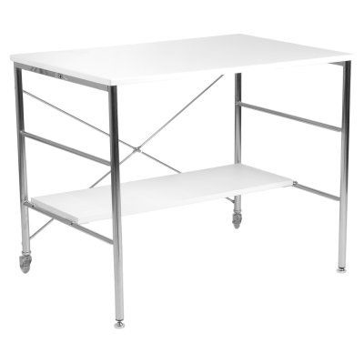 Ida Rolling Desk in High Gloss White with Chrome Base - 27324