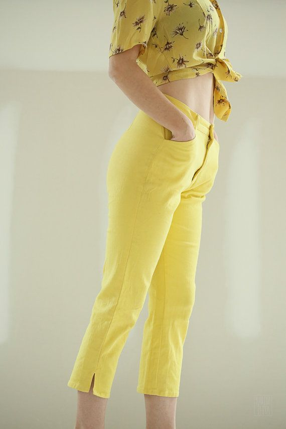 Vintage 1960s Pedal Pusher Neon Yellow Pants by refunktion on Etsy, $58.00