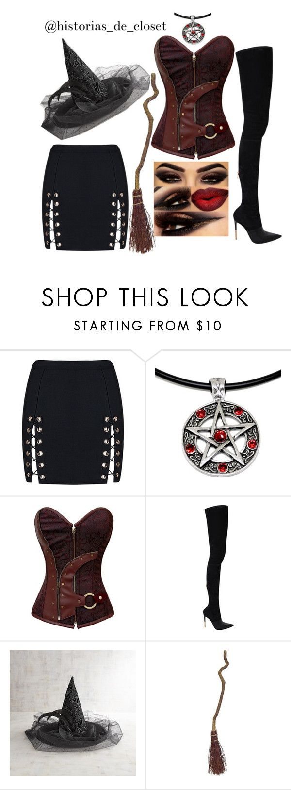"""""""Halloween witch"""" by pao-historias-de-closet on Polyvore featuring WithChic, Balmain and Pier 1 Imports"""