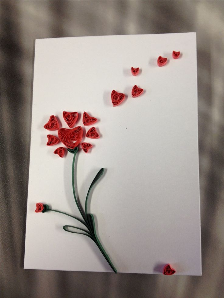 Paper quilled wishing for love card.