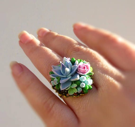 Mint ring Succulent jewellery Mint green ring by jewelryNatalie