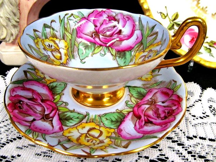 Vintage Taylor & Kent Teacup and Saucer - English Fine China Tea Cup with Hand Painted Yellow and Pink Roses on Pale Blue Ground, Gold Gilt - Hand Painted Porcelain Footed Teacup and Saucer