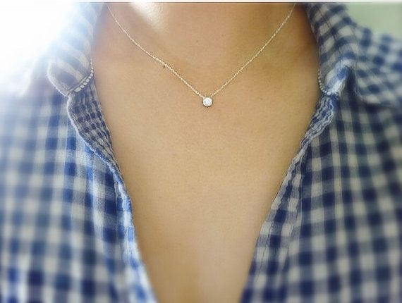 Bezel Set Solitaire Diamond Necklace In Sterling by MomentusNY