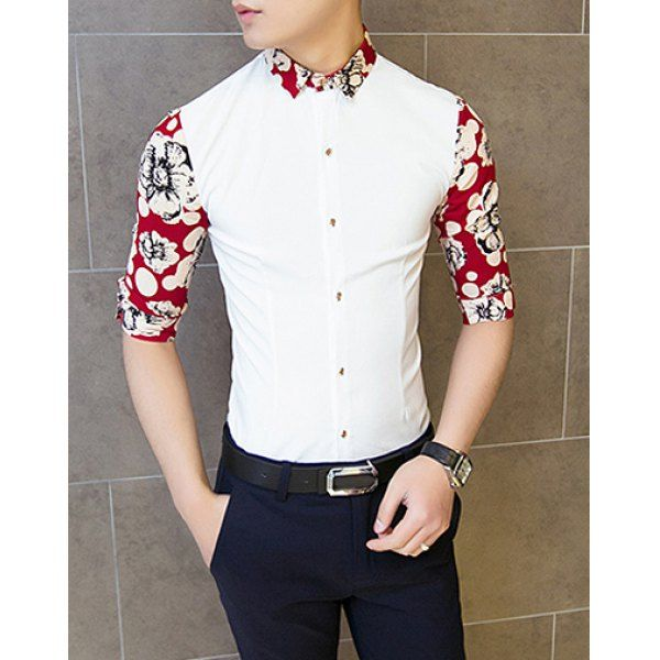 Fashion Polka Dot Flower Print Splicing Shirt Collar 3/4 Length Sleeve Slimming Cotton Shirt For Men