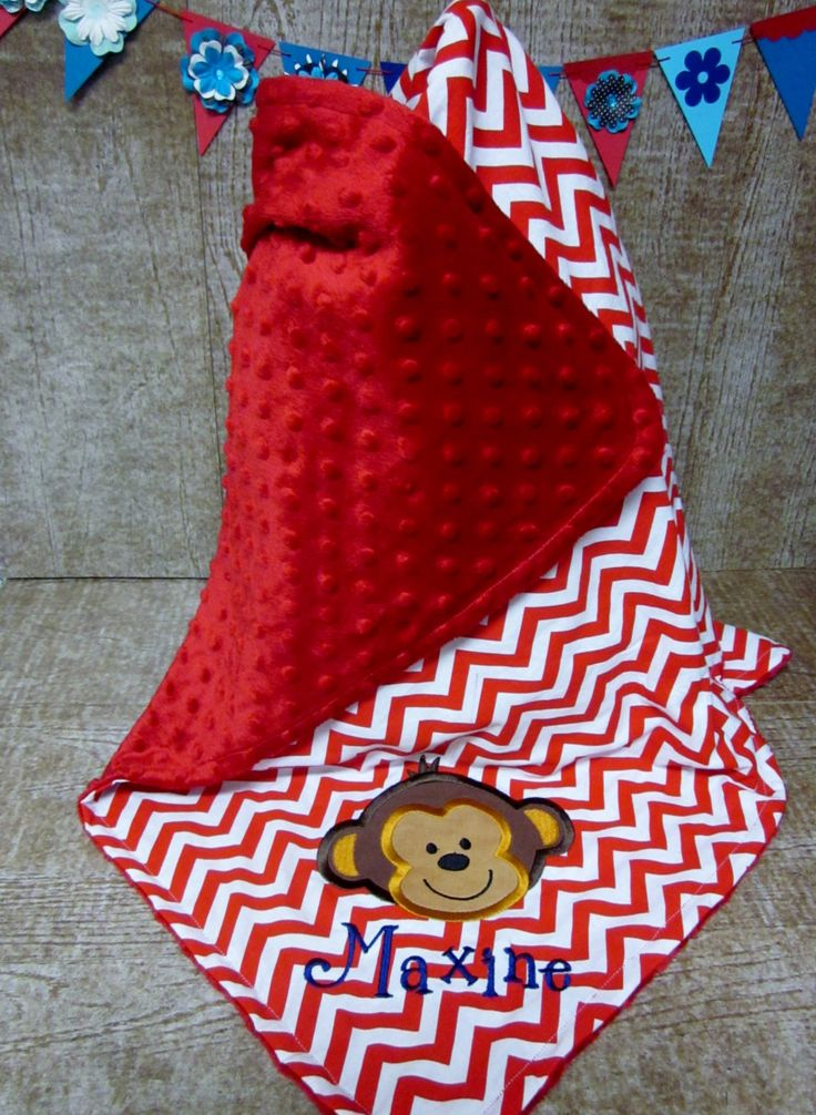 Personazlied Monogrammed Minky and Red Chevron Baby Blanket with  Monkey Face by IndustriousDog on Etsy