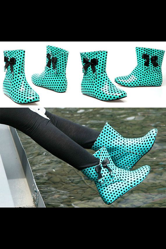 Cute Polka Dot Rain Boots by ReadnStyle on Etsy, $49.00