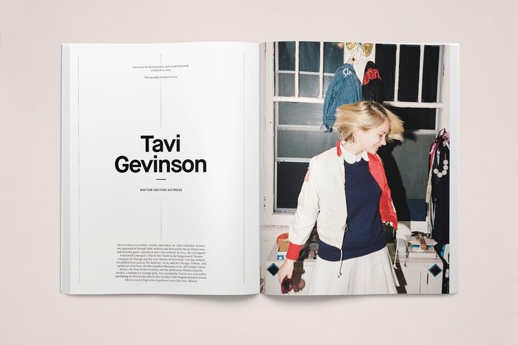 Layout Spread, has elements of main design with a large picture and clean typography.