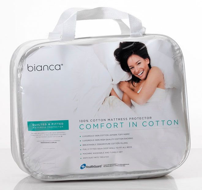Comfort in Cotton BIANCA  Features: 100% cotton Quilted with 230gsm cotton fill Fully fitted with 50cm deep walls Fully machine washable Tumble dry Health guard treated - #protectors