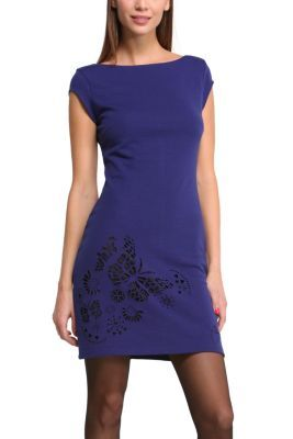 Desigual women's Soledad dress. A smooth, short sleeved dress with a single beautiful detail: laser die-cut butterflies along the bottom. Choose your color!