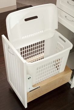 Built In Laundry Hamper Design Ideas. Yeah! Now we're talkin! Use hamper I already have so can lift out and roll into Mudroom. Note that they are running track along bottom instead of sides. Excellent idea! This would work great!