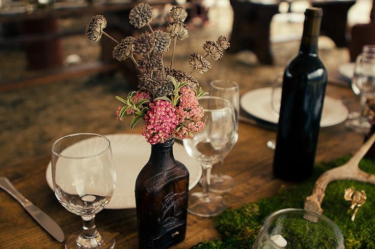 dreamin rustic: Dark Glasses, Galleries, Anniversary Wedding Ideas, Yr Anniversary Wedding, Events Decor, Floral Decor, Old Bottle, Flowers