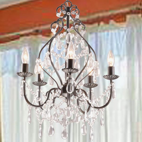Bethany 5 light iron and crystal candle chandelier by the Crystal candle chandelier
