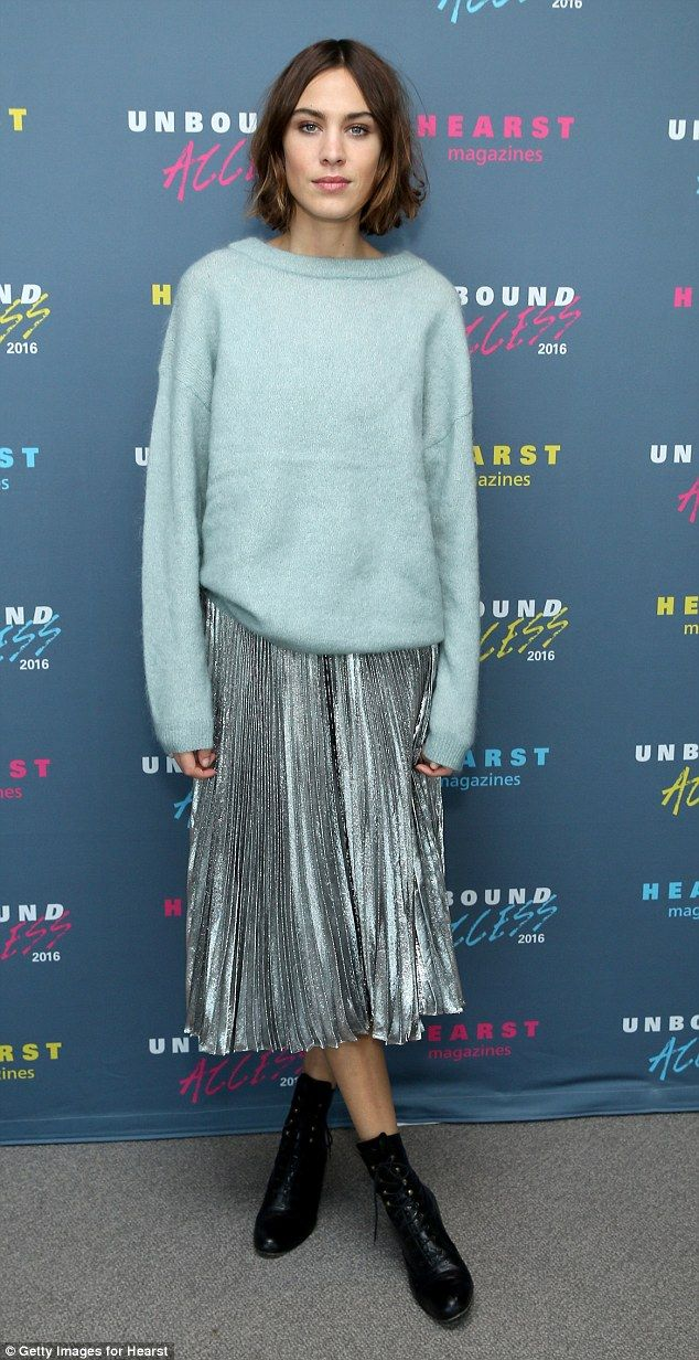 While the silver midi skirt added a touch of glam to the ensemble, Alexa ditched the heels in favour of some lace-up ankle boots