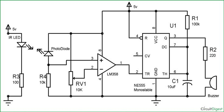 Infrared Security Alarm Circuit Diagram (con immagini