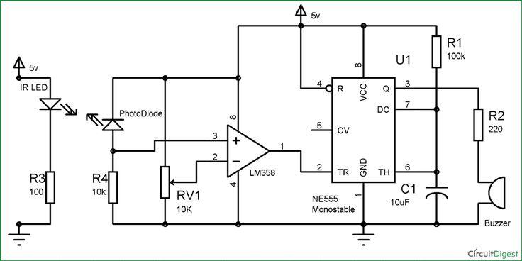 Infrared Security Alarm Circuit Diagram | Electronic