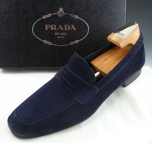 PRADA 2DA042 SUEDE LOAFER MENS DARK BLUE US 11 UK 10