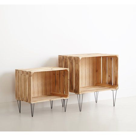 Wooden Nested Furniture Storage Crates, Beige  – salas