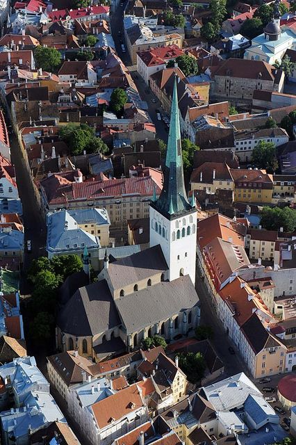 St. Olaf church (Oleviste kirik), Tallinn. Built 12th Century. The tower has been hit by lightning around ten times, and the whole church has burned down three times throughout its known existence. Following several rebuildings, its overall height is now 124 m