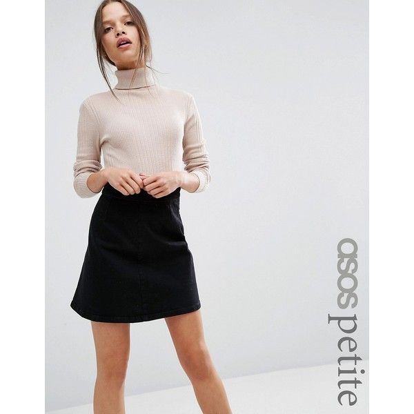 ASOS PETITE Jumper With High Neck in Rib ($33) ❤ liked on Polyvore featuring tops, sweaters, grey, high neck sweater, ribbed sweater, roll neck sweater, petite jumpers and petite tops