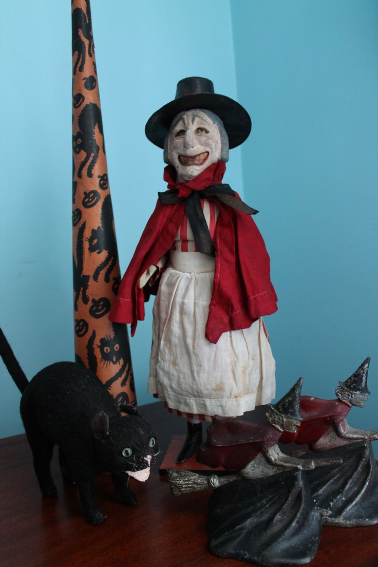 witch candy container germany plus hubley bookends and 8 mohair cat candy container halloween iihalloween witchesvintage - Vintage Halloween Witches